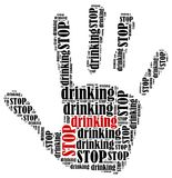 Word cloud illustration in shape of hand print showing protest. Stock Images