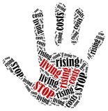 Word cloud illustration in shape of hand print showing protest. Stock Photo