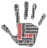 Word cloud illustration in shape of hand print showing protest. Royalty Free Stock Photo