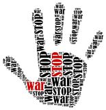 Word cloud illustration in shape of hand print showing protest. Stock Image