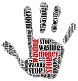 Word cloud illustration in shape of hand print showing protest. Stock Photography