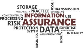Word cloud - information assurane. A word cloud of information assurance related items vector illustration