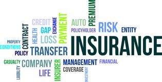 Word cloud - insurance. A word cloud of insurance related items Stock Image