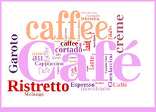 Word Cloud international specialities of Coffee. Word Cloud in different languages for Caffee specialities Royalty Free Stock Photography