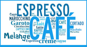 Word Cloud international specialities of Coffee. Word Cloud in different languages for Caffee specialities Royalty Free Stock Images