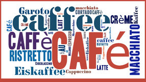 Word Cloud international spicialities of Coffee. Word Cloud in different languages for Caffee specialities Royalty Free Stock Photos