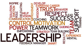 Word Cloud Leadership. A Wordcloud showing many Tags of a Topic Stock Photography