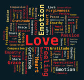 Word Cloud - Love / Passion / Heart / Gratitude. And others in red orange colors on black background vector illustration