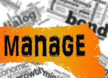 Word cloud with manage word on yellow and red banner Royalty Free Stock Photos