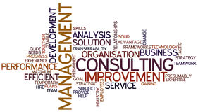 Word Cloud Management Consulting. A Wordcloud showing many Tags of a Topic Royalty Free Stock Images