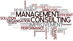 Word Cloud Management Consulting. A Wordcloud showing many Tags of a Topic Stock Photos