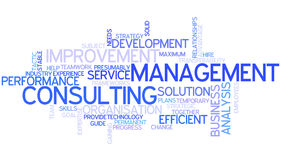 Word Cloud Management Consulting. A Wordcloud showing many Tags of a Topic Stock Image