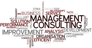 Word Cloud Management Consulting. A Wordcloud showing many Tags of a Topic Stock Photo