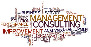 Word Cloud Management Consulting. A Wordcloud showing many Tags of a Topic Stock Photography