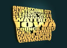 Word cloud map of Iowa state Stock Image