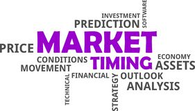 Word cloud - market timing. A word cloud of market timing related items stock illustration