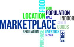 Word cloud - marketplace. A word cloud of marketplace related items royalty free illustration