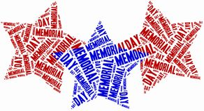Word cloud memorial day related in shape of stars Royalty Free Stock Photos