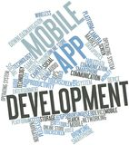 Word cloud for Mobile app development. Abstract word cloud for Mobile App development with related keywords and terms Stock Image