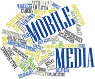 Word cloud for Mobile Media. Abstract word cloud for Mobile Media with related tags and terms Stock Images