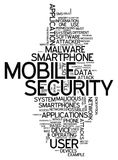 Word Cloud Mobile Security. Word Cloud with Mobile Security related tags Royalty Free Stock Images