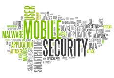Word Cloud Mobile Security. Word Cloud with Mobile Security related tags Royalty Free Stock Image