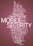 Word Cloud Mobile Security. Word Cloud with Mobile Security related tags Royalty Free Stock Photos