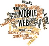 Word cloud for Mobile Web. Abstract word cloud for Mobile Web with related tags and terms Stock Photo