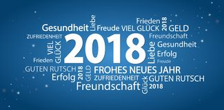 Word cloud with new year 2018 greetings. And blue background Stock Photography
