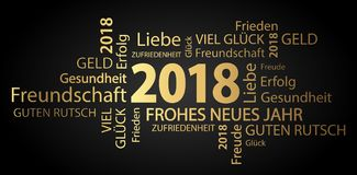 Word cloud with new year 2018 greetings. Colored gold and black background Royalty Free Stock Photography