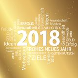 Word cloud with new year 2018 greetings. And golden background Stock Photo