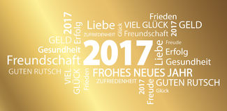 Word cloud with new year 2017 greetings. And golden background (text in german Stock Photo