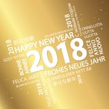 Word cloud with new year 2018 greetings. And golden background Stock Photography