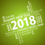 Word cloud with new year 2018 greetings. And green background Royalty Free Stock Image