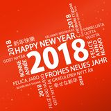 Word cloud with new year 2018 greetings. And red background Royalty Free Stock Photography