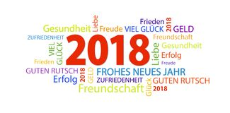 Word cloud with new year 2018 greetings. And white background Stock Photography