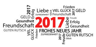 Word cloud with new year 2017 greetings. And white background (text in german Royalty Free Stock Photo