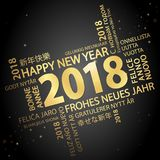 Word cloud with new year 2018 greetings. Colored gold and black background Stock Photo