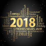 Word cloud with new year 2018 greetings. Colored gold and black background Royalty Free Stock Photos
