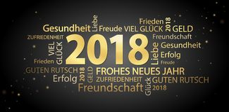 Word cloud with new year 2018 greetings. Colored gold and black background Stock Image