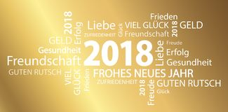 Word cloud with new year 2018 greetings. And golden background Royalty Free Stock Photography