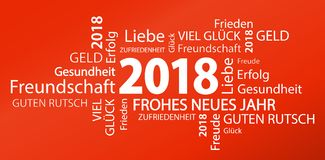 Word cloud with new year 2018 greetings. And red background Stock Image