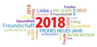 Word cloud with new year 2018 greetings. And white background Royalty Free Stock Photos