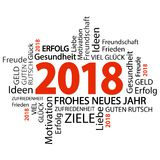 Word cloud with new year 2018 greetings. And white background Stock Photo