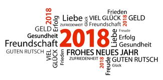 Word cloud with new year 2018 greetings. And white background Royalty Free Stock Images