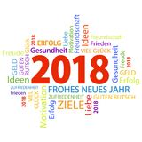 Word cloud with new year 2018 greetings. And white background Royalty Free Stock Image