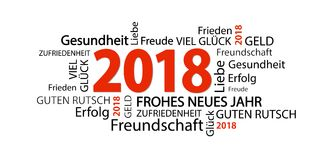 Word cloud with new year 2018 greetings. And white background Royalty Free Stock Photo