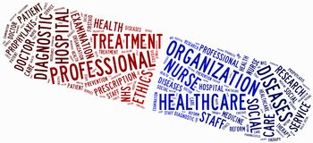 Word cloud NHS or public health service related. Tag cloud NHS or public health service related Royalty Free Stock Images