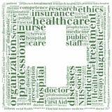 Word cloud NHS or public health service related. Tag cloud NHS or public health service related Stock Photo
