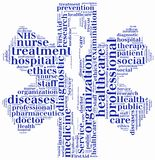 Word cloud NHS or public health service related. Tag cloud NHS or public health service related Royalty Free Stock Photography